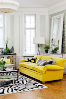 Yellow sofa and other furniture for living room