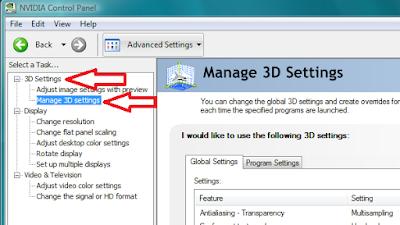 2. Lalu buka 3D Setting > Manage 3D Setting > Lalu Global Setting untuk menyeting grafisnya.