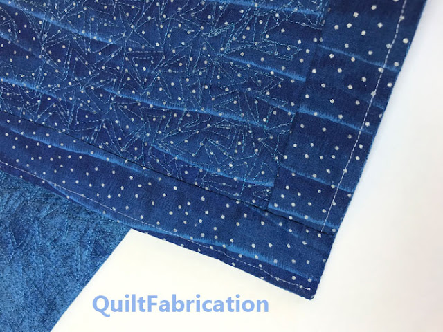 backside of a blue quilt