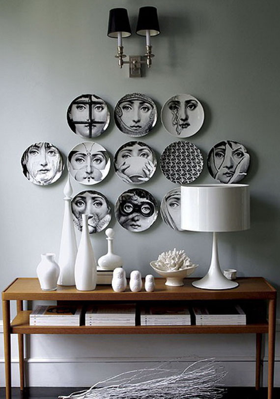 black and white faces, illustrated plates composition