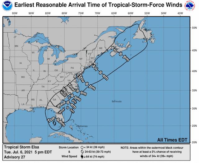 Elsa recobra estatus de huracán al suroeste de Tampa Bay.