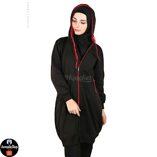 HJ21 Hijacket BASIC Black x Red JAKET HIJAB JAKET MUSLIMAH ORIGINAL PREMIUM FLEECE