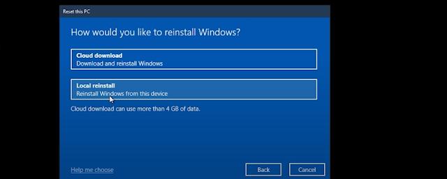 Reset trong Windows phiên bản 2004