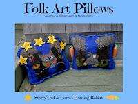 Folk Art Pillows The Owl & The Rabbit by Minaz Jantz