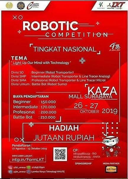 LOMBA KARYA TEKNOLOGI 2019 oleh Universias Negeri Surabaya