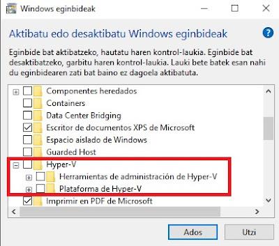 Características de Windows - Hyper-V no activado