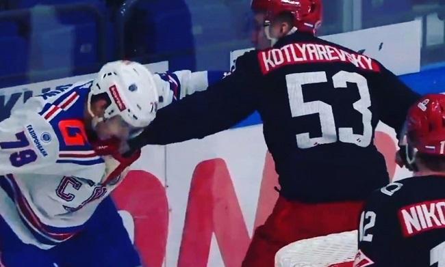 khl ice hockey fight