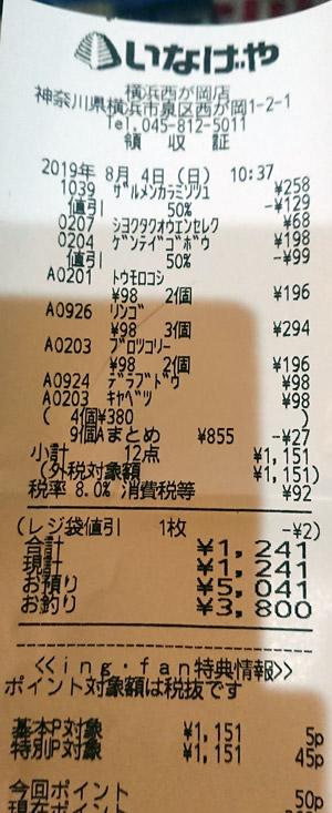 いなげや 横浜西が岡店 2019/8/4 のレシート