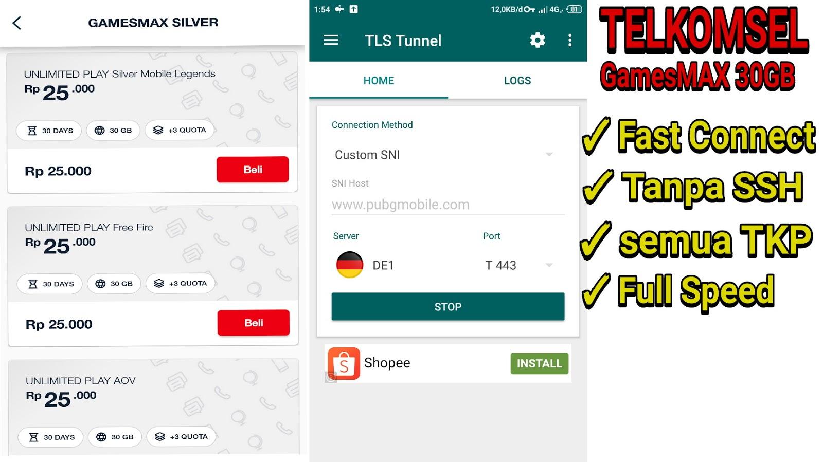 Update Config Tls Tunnel Gamesmax 30gb Telkomsel 2020 Klikinfo