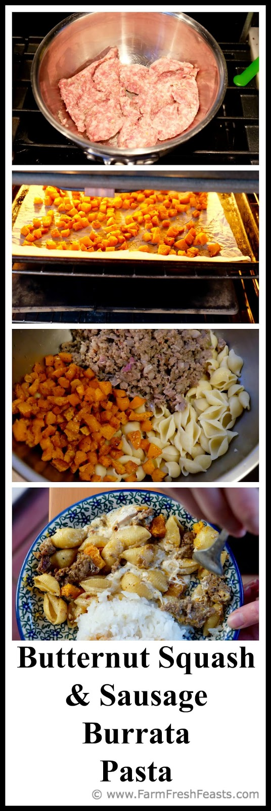 Cubes of butternut squash, Italian sausage crumbles, hot pasta and creamy burrata cheese.