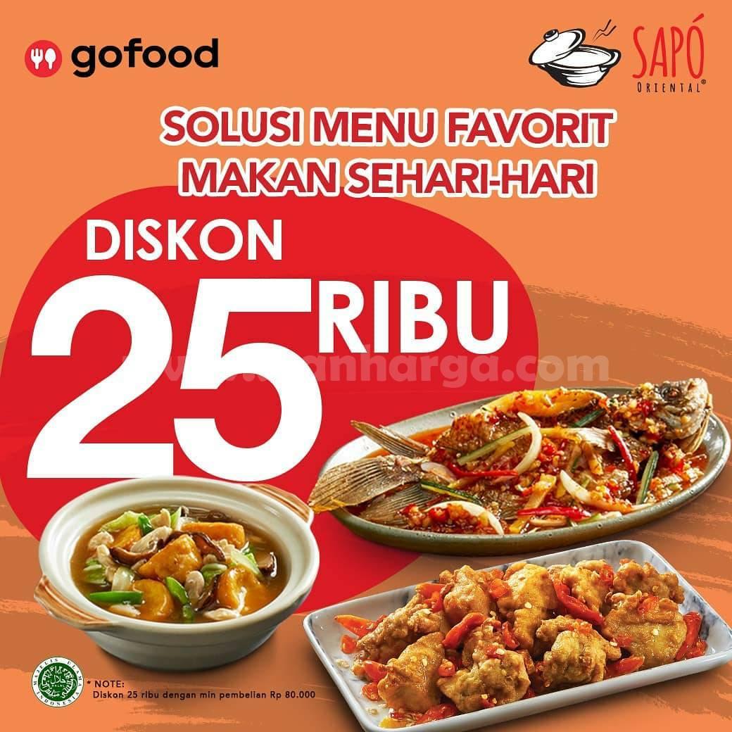 Promo SAPO ORIENTAL Diskon hingga Rp 25.000 melalui GOFOOD
