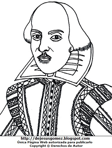 Dibujo de William Shakespeare sin color para colorear pintar imprimir. Imagen de William Shakespeare de Jesus Gómez