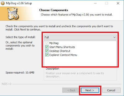 Pada opsi Select The Type Of Instal, pilih sesuai keinginan Sobat saja. Perlu diperhatikan, opsi yang di tawarkan merupakan komponen-komponen atau fitur pada software. Jika Sobat ingin semua fitur, pilih Full. Jika sudah klik Next.