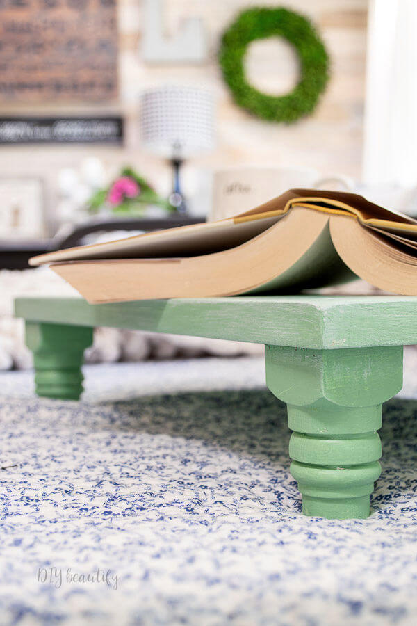 DIY pedestal bed tray with book