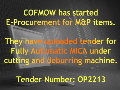 COFMOW has started E-Procurement for M&P items