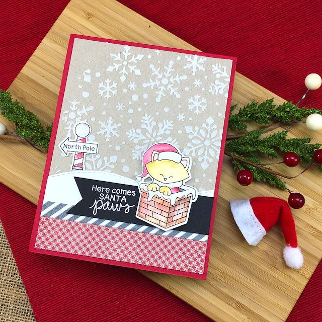 Advent Calendar Extravaganza with Taheerah Atchia   Santa Kitty card by Jennifer Jackson   Santa Paws Newton Stamp Set by Newton's Nook Designs #newtonsnook #handmade