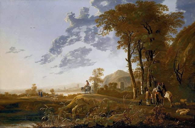 Альберт Кёйп - Утренний пейзаж с всадником и пастухами. 1655-60