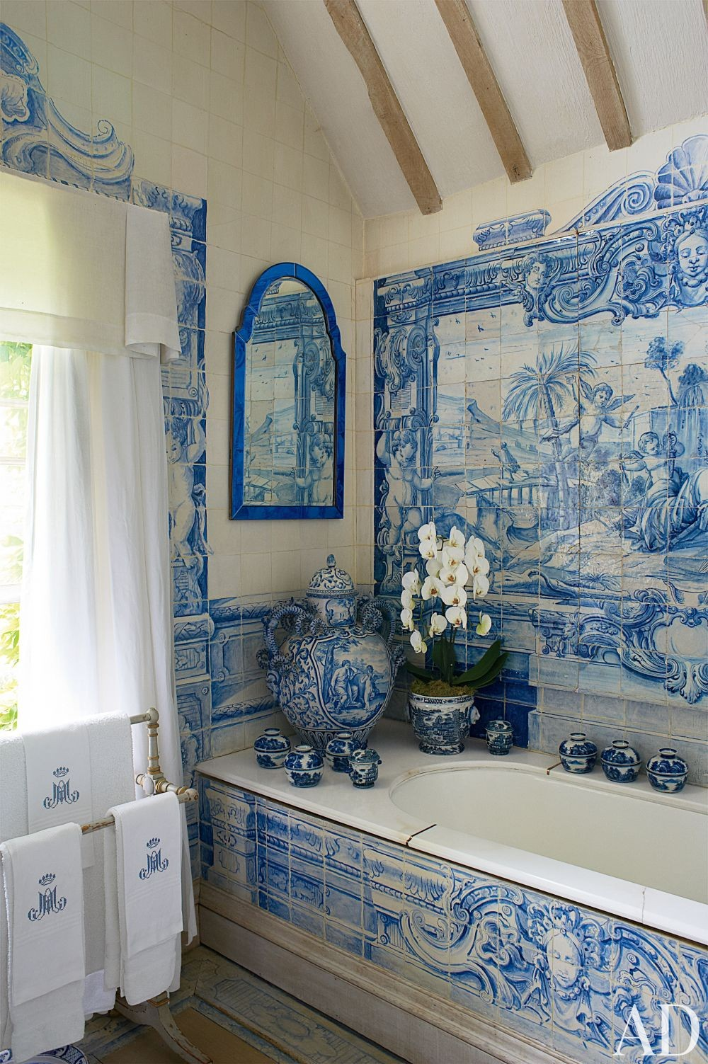 French Blue and White Bathroom Tiles