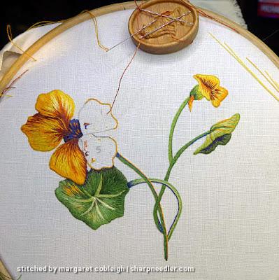 Three petals of main thread painted nasturtium complete. (Catherine Laurencon Capucines (Inspirations))