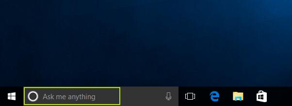 Kotak pencarian Windows 10 Ask me anything