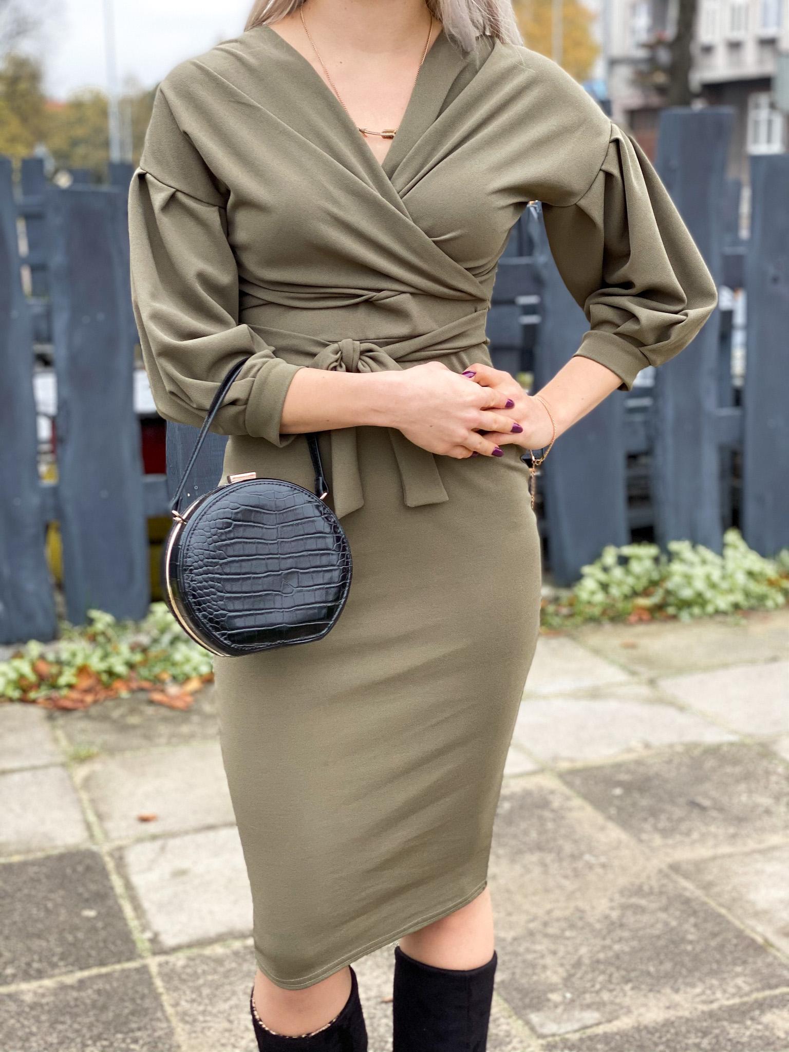 Khaki Belted Bodycon Midi Dress - Angelica