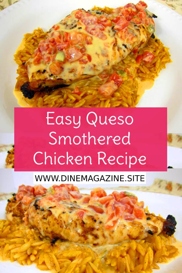 Easy Queso Smothered Chicken - Tex-Mex grilled chicken smothered in Queso and served over southwest seasoned orzo. SO quick and easy to make.This chicken is AMAZING! #queso #Quesochicken ##grilledchicken #texmex #easychickenrecipe #mexicanfood #mexicanrecipe #easychickenrecipe #maindish #easydinnerrecipe