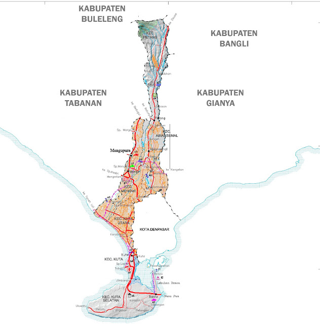 Gambar Peta Kabupaten Badung Lengkap