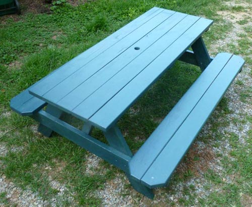Picnic Table Complete Stained Green