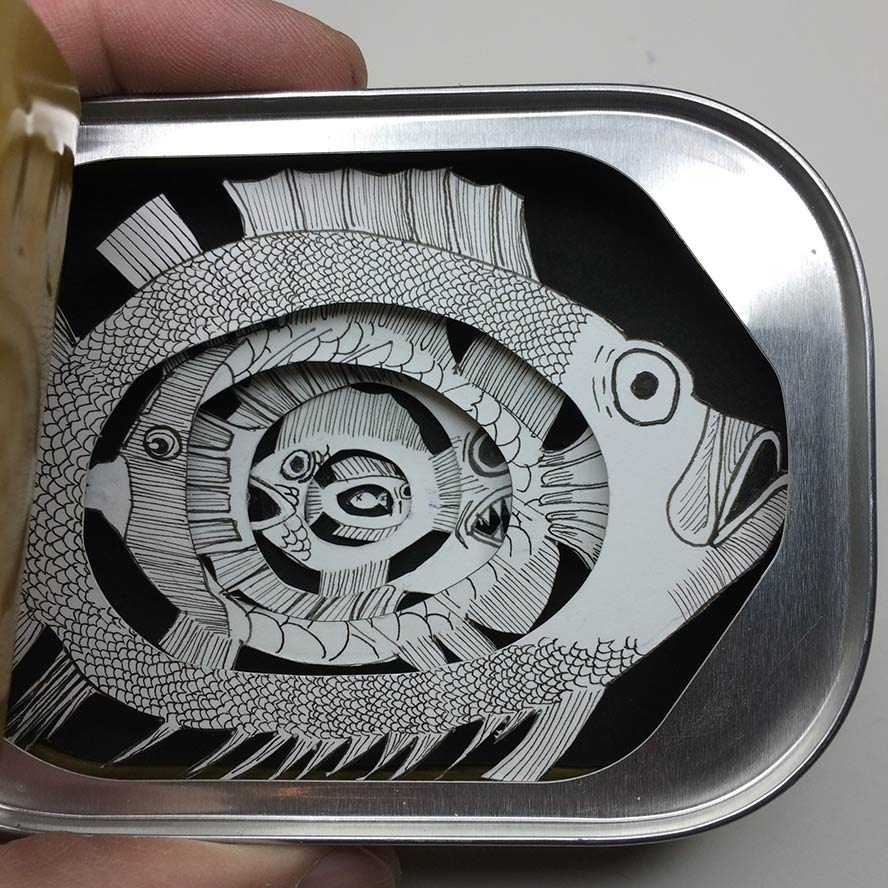 08-A-Fine-Can-of-Fish-Jim-Doran-Dioramas-with-Paper-Cutouts-in-Recycled-Containers-www-designstack-co