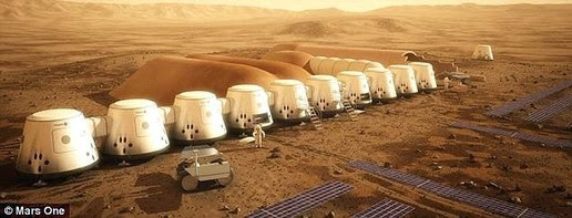 Illustration of colonization on Mars