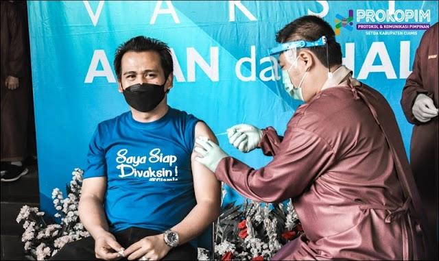 Wabup Ciamis dan Unsur Forkopimda Lakukan Vaksinasi Covid-19 Tahap Pertama