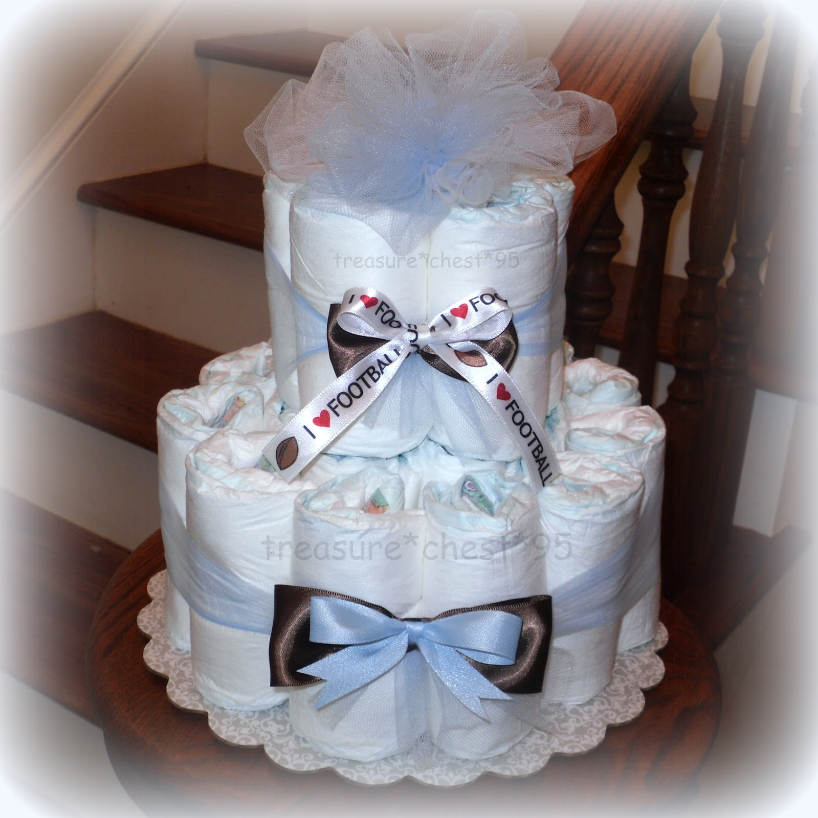 FOOTBALL Diaper Cake Baby Shower Centerpiece Gift Boy Blue