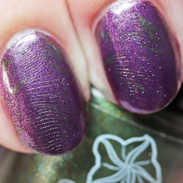Moonflower Polish Spanish Moss stamped over Violet Dusk using Über Chic 22-03 plate