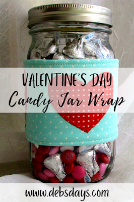 Homemade Candy Jar Fabric Wrap for Valentine's Day