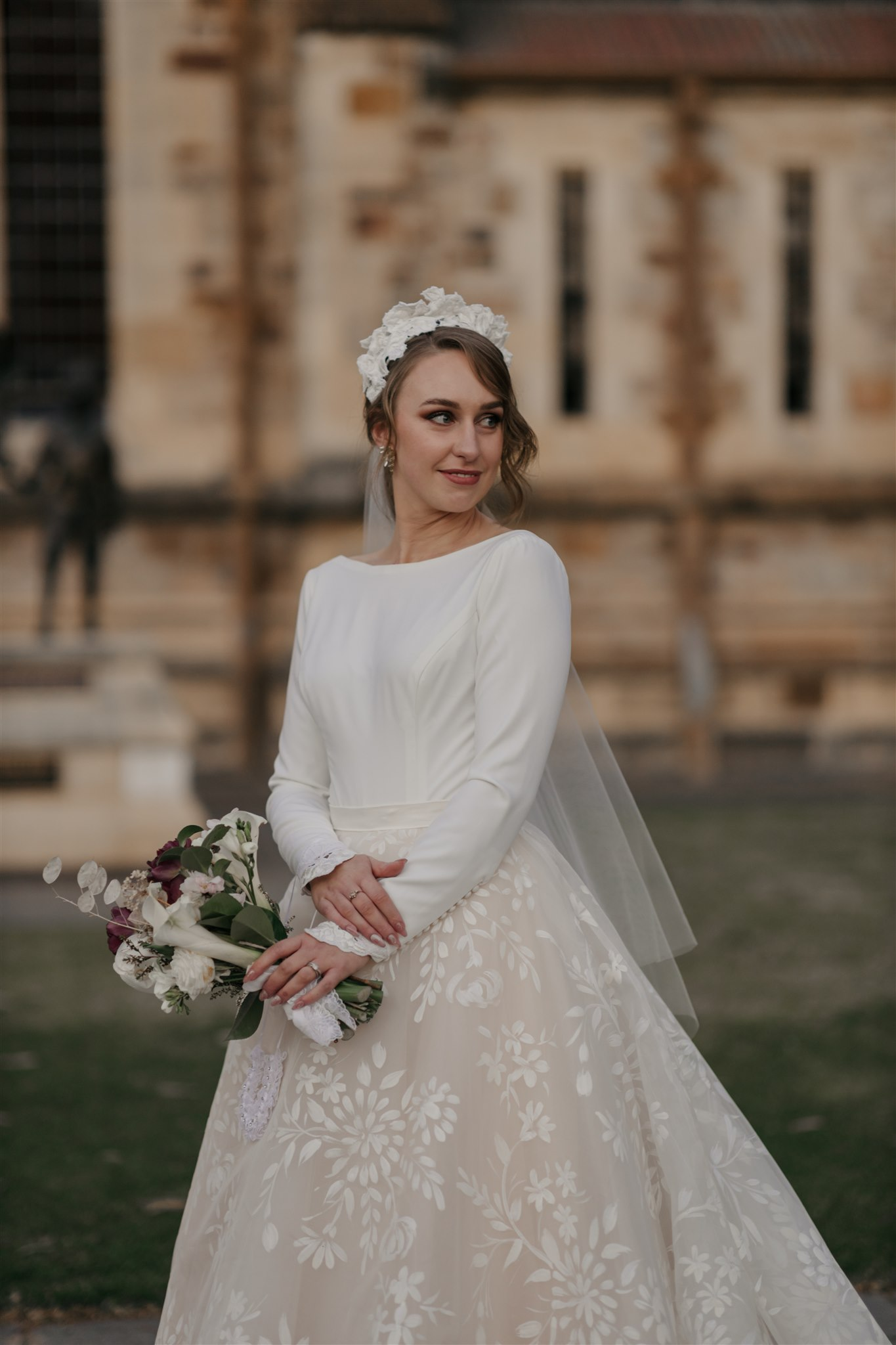 the ivory story wedding photography cathedral adelaide florals bridal gown love