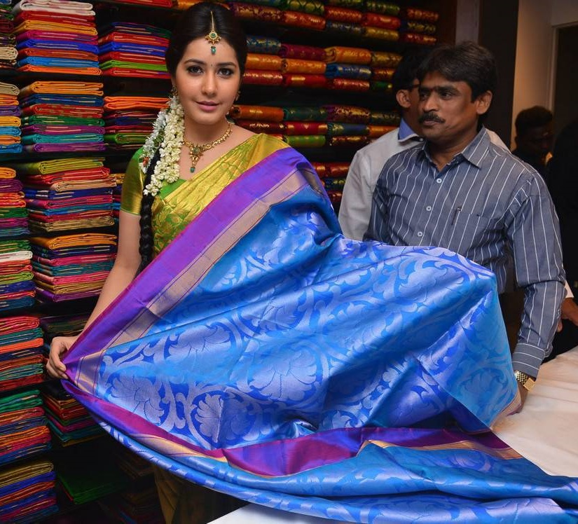 Rashi Khanna Stills In Blue Saree