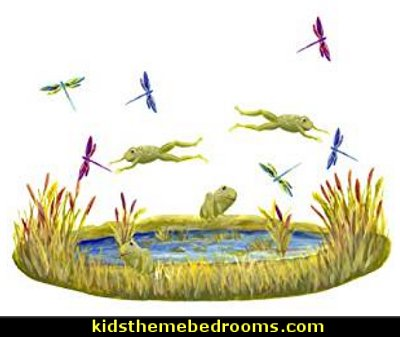 Pond with Frogs and Dragonflies  frog theme bedrooms - frog bedroom decor - frog theme decor - frog themed gifts - froggy wallpaper frog murals - frog wall decals - frogs in a pond wall decor -  Frog Prince decor - pond theme decals - frog duvet set - decorating frog theme - frog theme for baby nursery - frog pond baby nursery