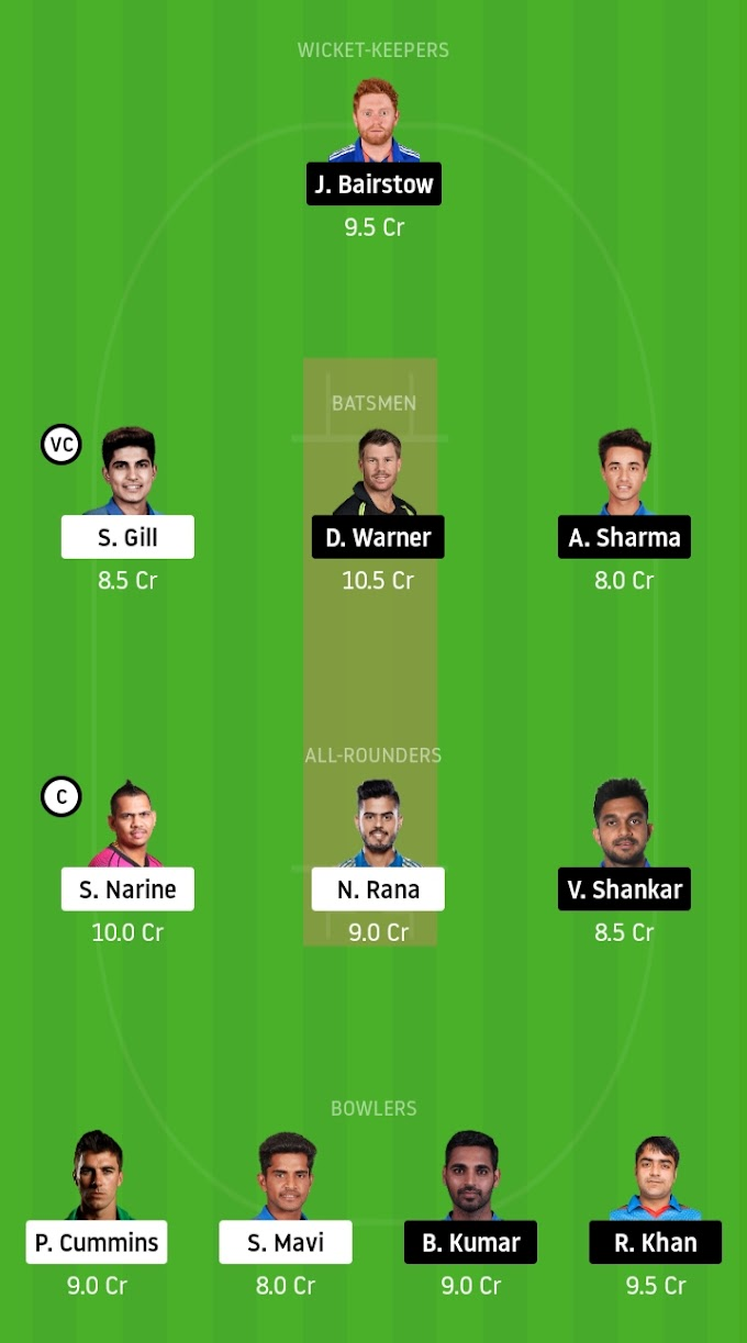 IPL 2020: KKR Look To Earn Points Against Sunrisers - Kolkata Knight Riders vs Sunrisers Hyderabad Dream11 Prediction
