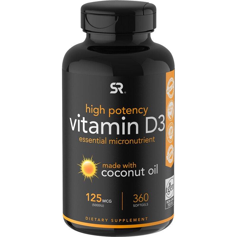 Sports Research, витамин D3 с кокосовым маслом, 125 мкг (5000 МЕ), 360 мягких таблеток
