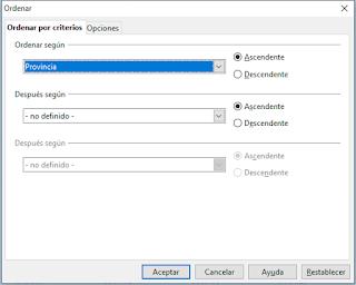 ¿Se puede ordenar con celdas combinadas en OpenOffice Calc?