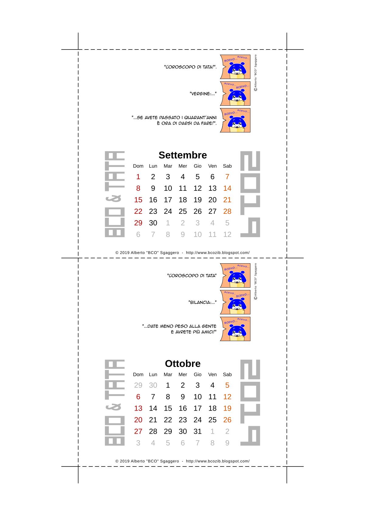 Il calendario 2019 di BCO e TATA - Settembre e Ottobre