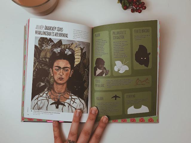 Frida Kahlo infografika könyv belső oldalai - jelképek Frida Kahlo művészetében, festészetében, életében