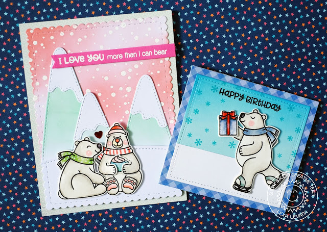 Sunny Studio Stamps: Playful Polar Bears Winter Themed Everyday Cards by Lexa Levana