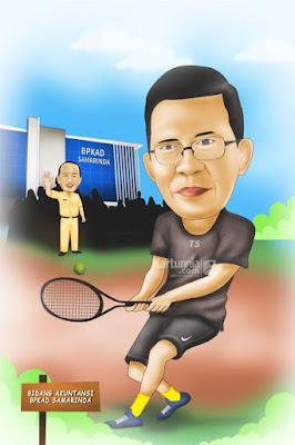 Karikatur Main Tenis Lapangan