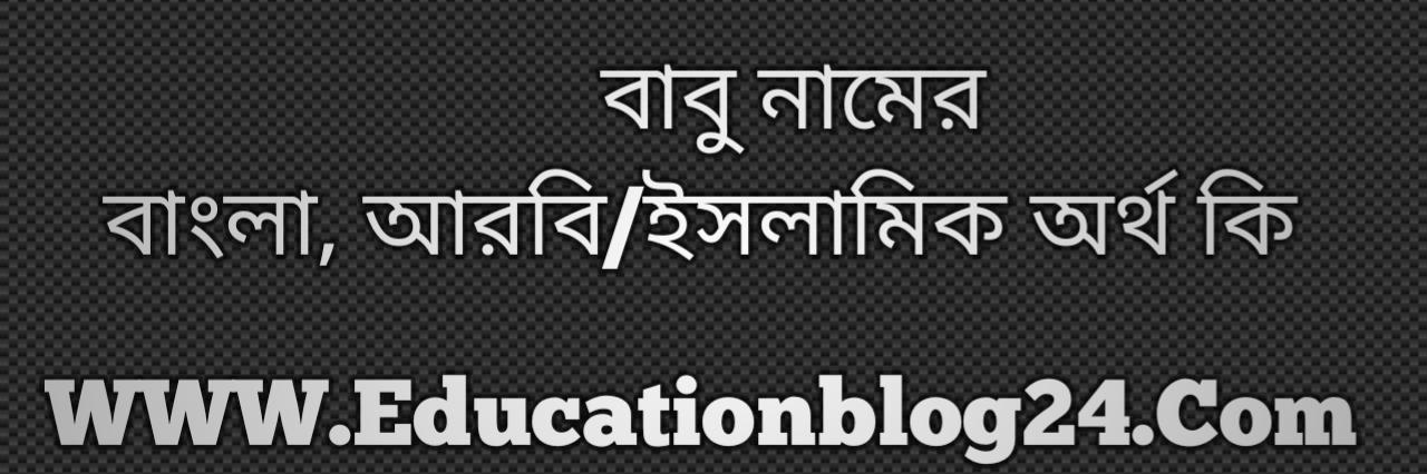 Babu name meaning in Bengali, বাবু নামের অর্থ কি, বাবু নামের বাংলা অর্থ কি, বাবু নামের ইসলামিক অর্থ কি, বাবু কি ইসলামিক /আরবি নাম