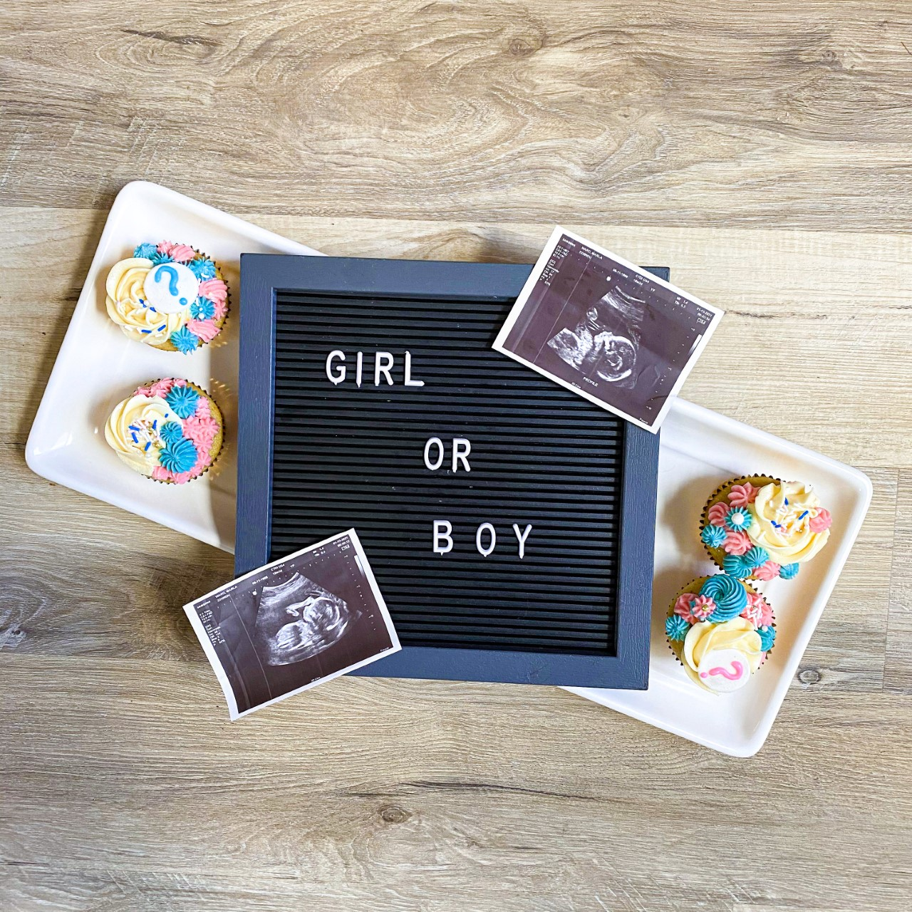 Gender Reveal Idea with Cupcakes