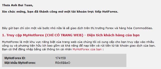 Thông tin đăng nhập cổng thông tin HotForex