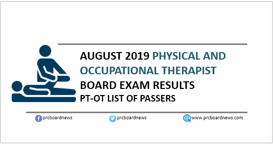 RESULT: August 2019 Physical, Occupational Therapist PT-OT board exam list of passers
