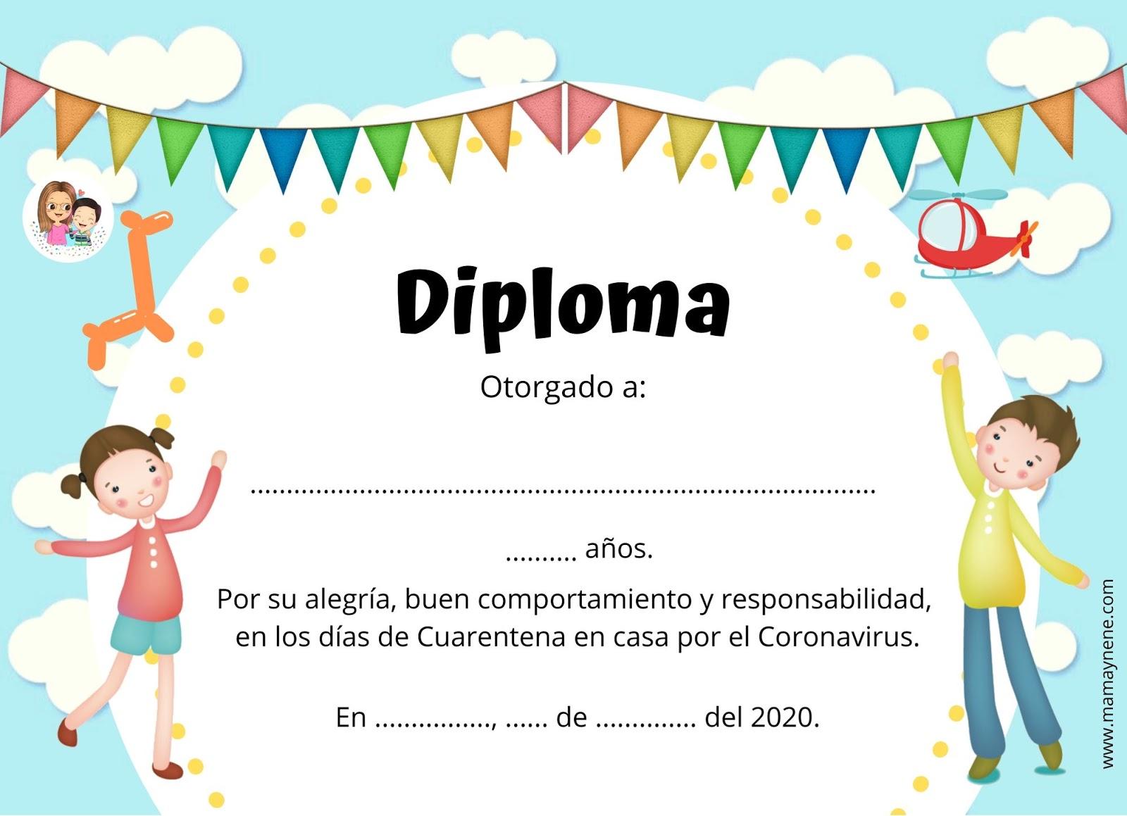 DIPLOMA -CUARENTENA-NIÑOS-MAMAYNENE-FREEBIES-IMPRIMIBLES-MATERNIDAD-CORONAVIRUS