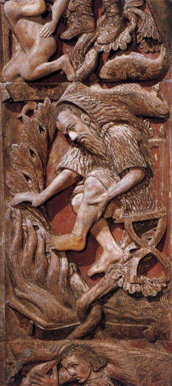13th century bas-relief of the month of February, Central door, Basilica San Marco, Venice